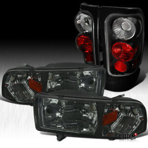Fit 1994 2001 Dodge Ram 1500 2500 3500 Smoke Headlights Black Tail Brake Lamps