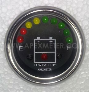 8pc Qty 12v Led Battery Level Voltage Monitor Meter Indicator 52mm