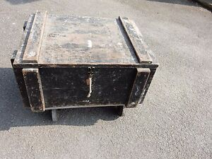 Big Vintage Trunk Case Box Industrial Chic Strong Heavy Military Look 68 50 33
