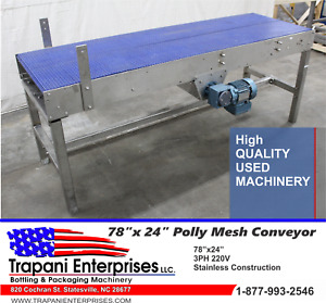 Stainless 12 By 24 Wide Poly Mesh Lane Conveyor Accumulating Table Bottling