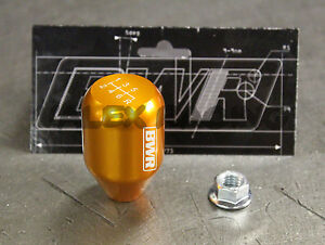 Blackworks Racing 10x1 5 Aluminum 6061 6 Speed Type R Style Shift Knob Orange