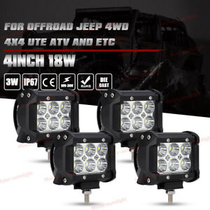 4x 4inch 18w Cree Led Work Light Bar Flood Pod Offroad Driving Jeep Ute Atv Lamp