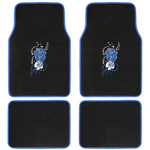 Bdk Blue Hawaiian Summer Flower Car Floor Mats 4 Pcs Aloha 4 Pcs Set