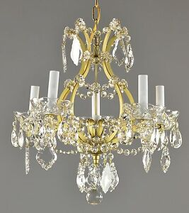 Marie Therese Style Crystal Brass Chandelier Antique Vintage Gold Ornate