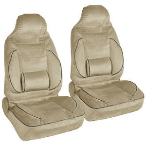 Beige 2pc High Back Bucket Seat Covers Set Built In Lumbar Support Cushion
