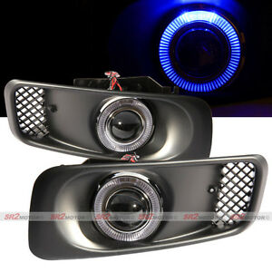 Blue Led Drl Halo Angel Eyes Projector Fog Lights Lamps Kit Fits 99 00 Civic