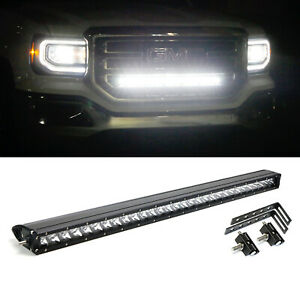 150w 30 Cree Led Light Bar W behind Grille Bracket Wiring For 14 18 Gmc Sierra