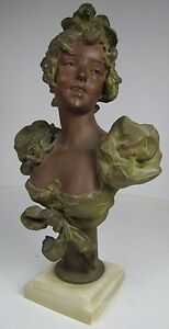 Antique Art Nouveau Womans Bust Decorative Art Statue Cast Spelter Marble Base