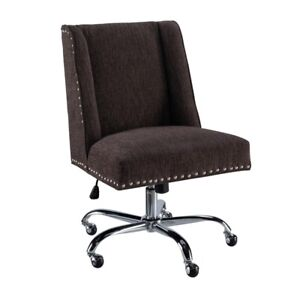 Linon Draper Armless Upholstered Office Chair In Charcoal