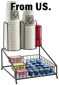 Cup Lid Coffee Condiment Organizer Holder Storage Office Tea Dispenser Condiment