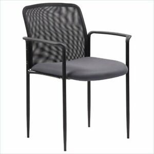 Boss Office Stackable Mesh Guest Chair In Gray
