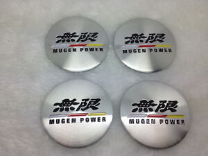 4x Fit Mugen Power Wheel Caps Alloy Racing Emblem Badges Stickers 56mm New 3d