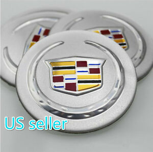 Ok56 S 4x Fit Cadillac Silver Acrylic Aluminum Wheel Cap Emblem Sticker 56mm New