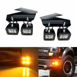 Amber 80w Cree Led Pods W Lower Bumper Brackets Wiring For 10 14 Ford Raptor