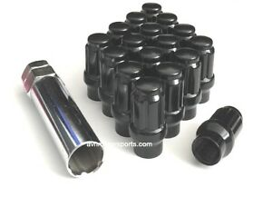 20 Spline Et Extended Thread Tuner Lug Nuts 12x1 5 Black Fit Toyota Honda Acura