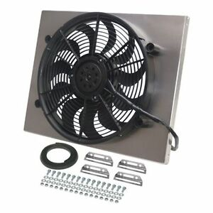 Derale 16822 High Output Single 17 Electric Rad Fan alum Shroud 22 25 Width