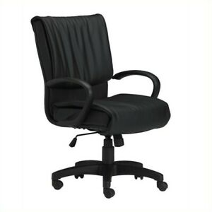 Safco Mercado Black Genuine Leather Conference Office Chair With Loop Arms