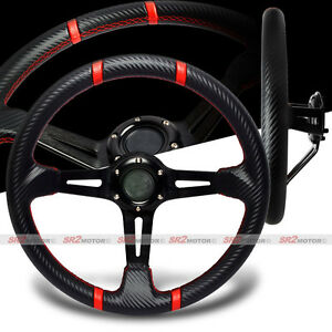 Universal 350mm Drift Deep Dish Red Stitches Black Carbon Pvc Steering Wheel