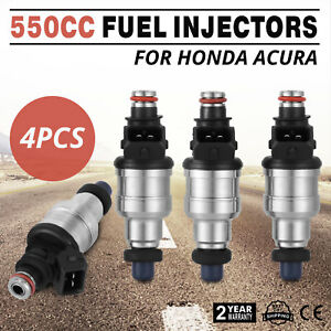 Top 550cc Fuel Injectors For Honda Acura Turbo Boost Ev1 Jdm Vtec 4pc Made