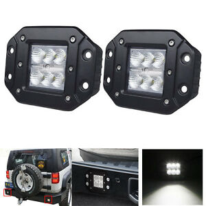 2x 5inch 24w Square Led Cube Pods Work Light Flush Mount Flood Beam Suv Offroad