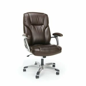 Ofm Essentials Ergonomic High Back Leather Office Chair In Brown