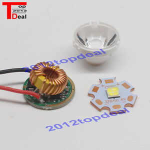 Cree Xhp50 6500k White Led Emitter 6v On 20mm Cooper Pcb 1 5mode Driver 15 Lens