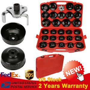 30pcs Cup Type Oil Filter Cap Wrench Garage Set Socket Removal Tool Set W Case