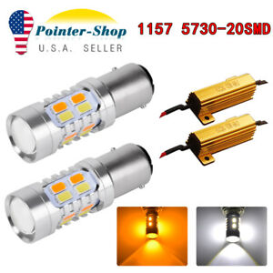 2x White Amber Switchback 1157 20 Smd Led Lamps Turn Signal 1152 7528 Resistors