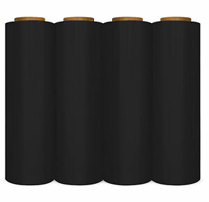 8 Rolls Plastic Shrink Hand Stretch Wrap 17 X 1476 Film Black Color