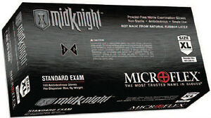 Microflex Midknight Powder free Nitrile Examination Gloves 1000 case M L Xl Xxl