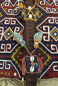 Pre 1900s Antique Tribal Camel Bag 2 5 4 2 Chuval Sumak Embroidered Panels Rug