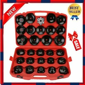 30 Pcs Cup Type Oil Filter Cap Wrench Socket Removal Tool Set W Case Us Stock Sk