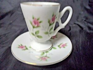 Japanese Porcelain Pink Rose Floral Tea Cup Saucer W Gold Trim Mv1854