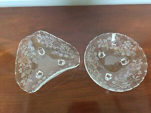 Antique Engraved Glass Bowls