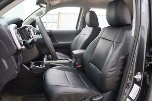 Toyota Tacoma 2016 2021 Black S Leather Custom Made Fit 2 Front Seat Covers