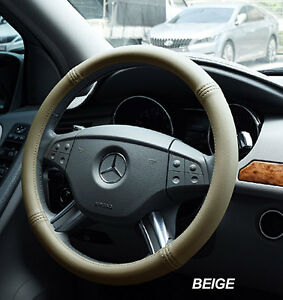 Iggee Beige S Leather Premium High Quality Steering Wheel Cover 15