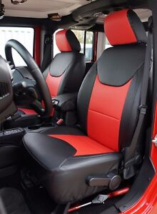Jeep Wrangler 2013 2016 Black red S leather Custom Made Fit Front Seat Cover