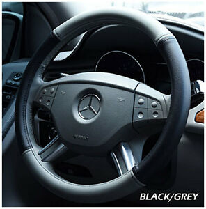 Iggee Black grey S leather Premium High Quality Steering Wheel Cover 15