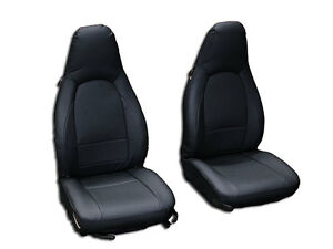 Porsche 911 928 944 968 Black S leather Custom Made Fit Front Seat Cover
