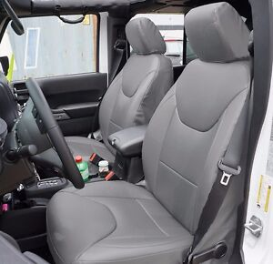 Jeep Wrangler 2013 2016 Grey S Leather Custom Made Fit Front Seat Cover