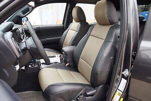 Toyota Tacoma 2016 2021 Black Beige S Leather Custom Made Fit 2 Front Seat Cover