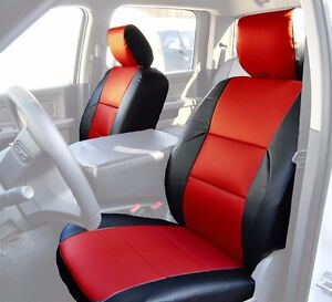 Dodge Ram 2009 2016 Black Red S Leather Custom Made Front Seat Cover