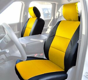 Dodge Ram 2009 2018 Black yellow S leather Custom Made Fit Front Seat Cover