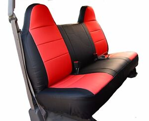 Ford F 150 Black Red Iggee S Leather Custom Fit Bench Front Seat Cover