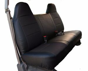 Ford F 250 350 Black Iggee S Leather Custom Fit Bench Front Seat Cover