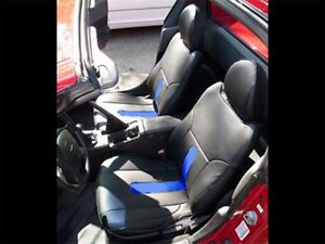 Honda Del Sol 1993 1997 Black blue S leather Custom Fit Front Seat Covers