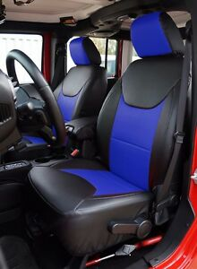 Jeep Wrangler 2013 2016 Black Blue S Leather Custom Made Fit Front Seat Cover