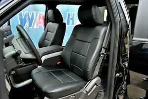 Ford F 150 2009 2014 Black Iggee S leather Custom Fit Front Seat Cover