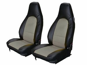Porsche 911 928 944 968 Black grey S leather Custom Made Fit Front Seat Cover