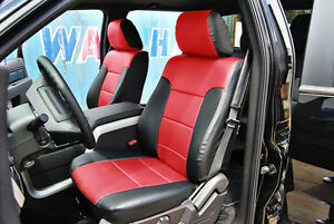Ford F 150 2009 2014 Black red Iggee S leather Custom Fit Front Seat Cover